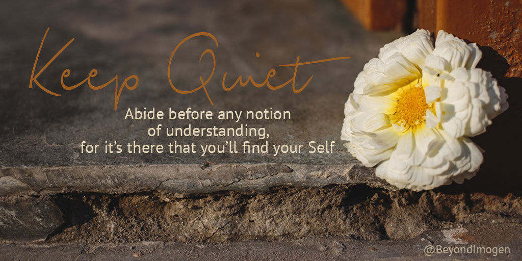 Keep Quiet. Abide before any notion of understanding, for it's there that you'll find your Self.